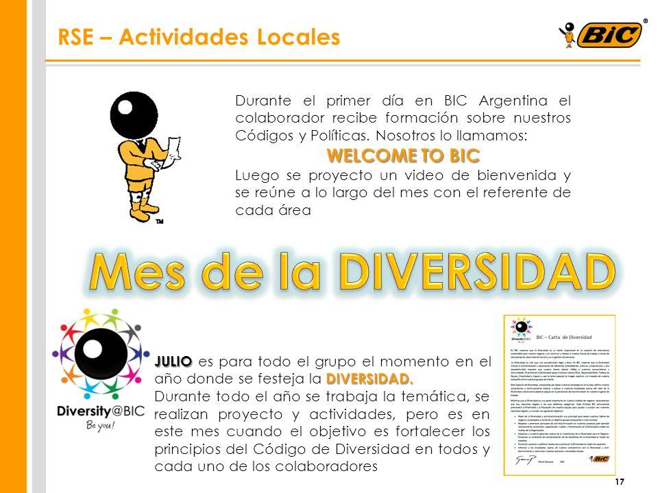17 RSE – Actividades Locales Durante el primer día en BIC Argentina el colaborador recibe formación sobre nuestros Códigos y Políticas. Nosotros lo ll