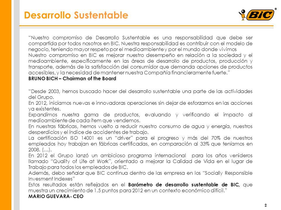2 Desarrollo Sustentable Nuestro compromiso de Desarrollo Sustentable es una responsabilidad que debe ser compartida por todos nosotros en BIC. Nuestr