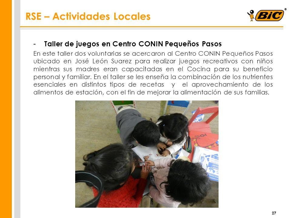 - Taller de juegos en Centro CONIN Pequeños Pasos En este taller dos voluntarias se acercaron al Centro CONIN Pequeños Pasos ubicado en José León Suar