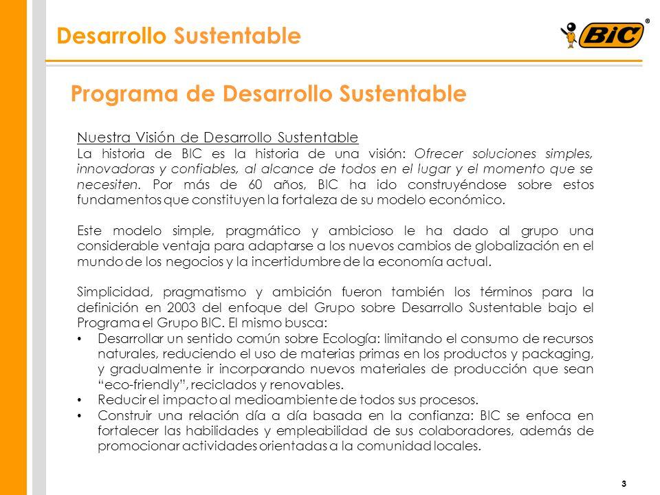 3 Programa de Desarrollo Sustentable Nuestra Visión de Desarrollo Sustentable La historia de BIC es la historia de una visión: Ofrecer soluciones simp