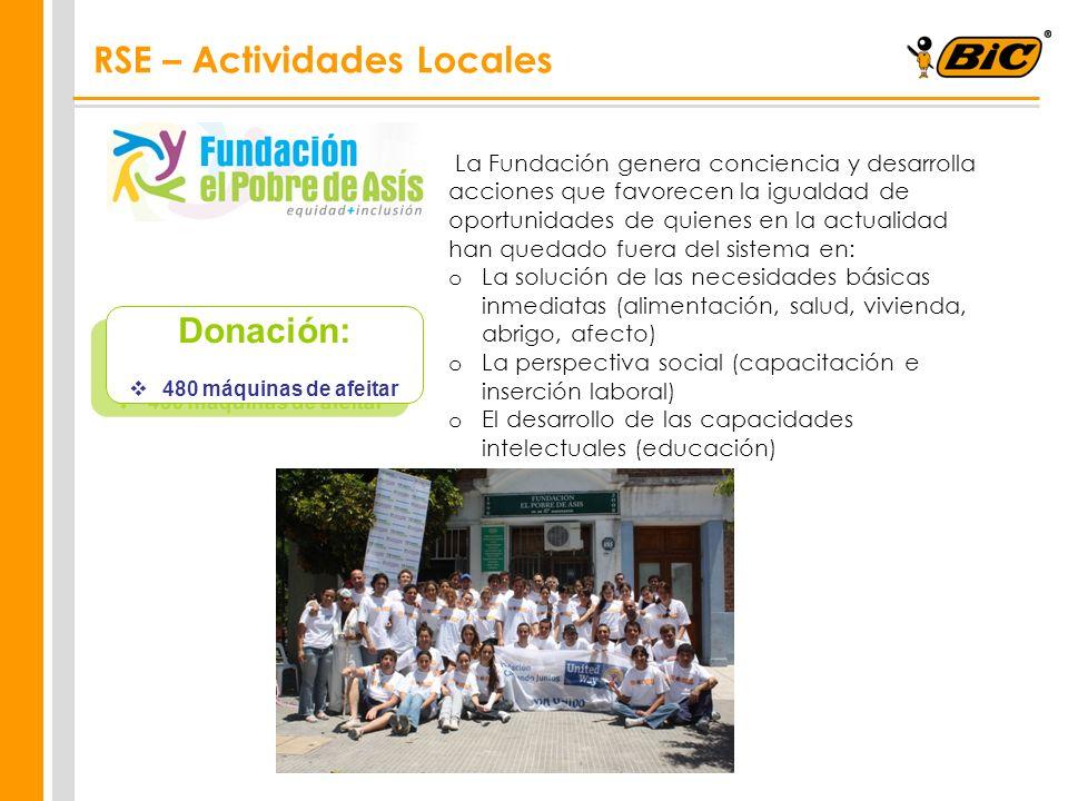 Donación: 480 máquinas de afeitar Donación: 480 máquinas de afeitar La Fundación genera conciencia y desarrolla acciones que favorecen la igualdad de