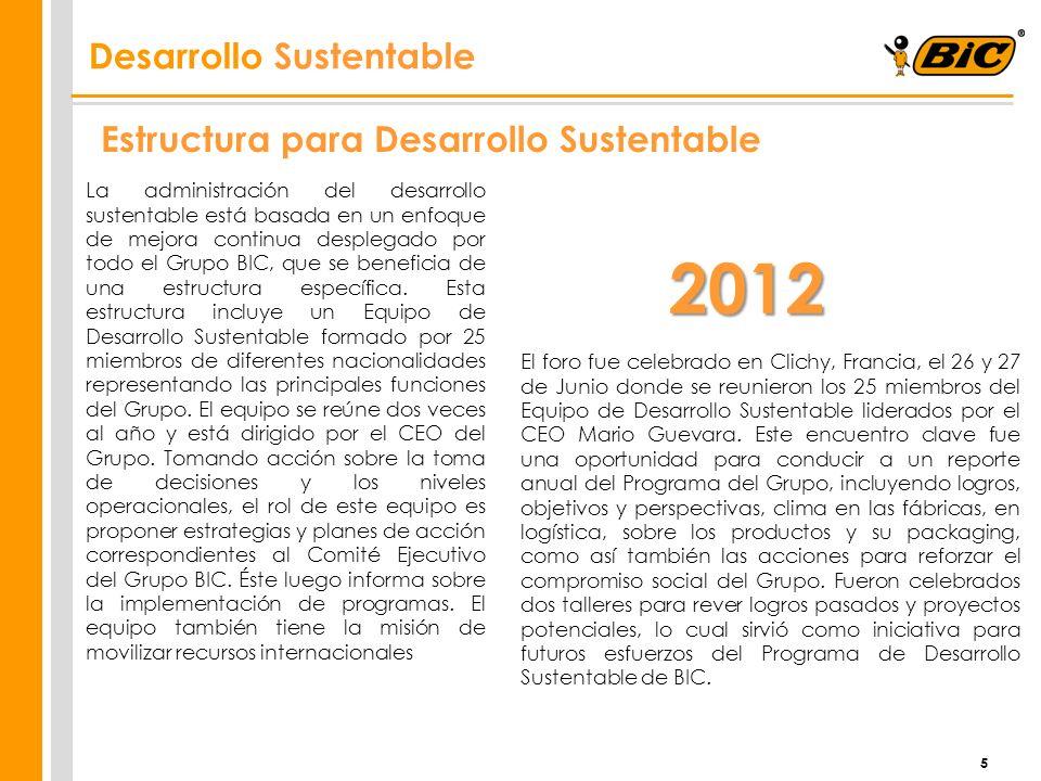 5 La administración del desarrollo sustentable está basada en un enfoque de mejora continua desplegado por todo el Grupo BIC, que se beneficia de una