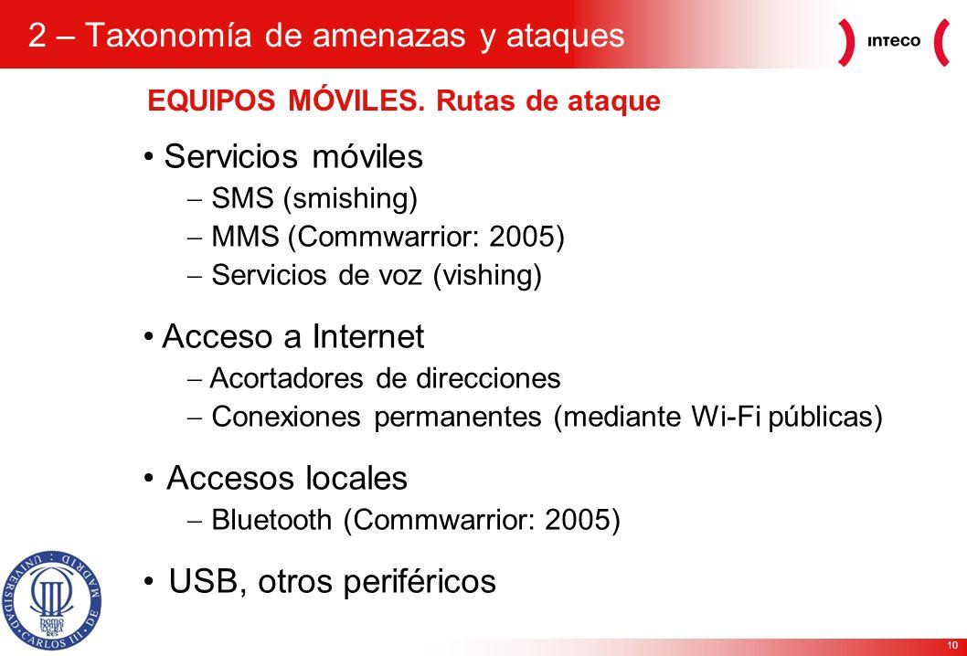 10 EQUIPOS MÓVILES. Rutas de ataque Servicios móviles SMS (smishing) MMS (Commwarrior: 2005) Servicios de voz (vishing) Acceso a Internet Acortadores