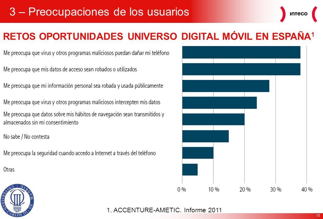 12 RETOS OPORTUNIDADES UNIVERSO DIGITAL MÓVIL EN ESPAÑA 1 1. ACCENTURE-AMETIC. Informe 2011 3 – Preocupaciones de los usuarios