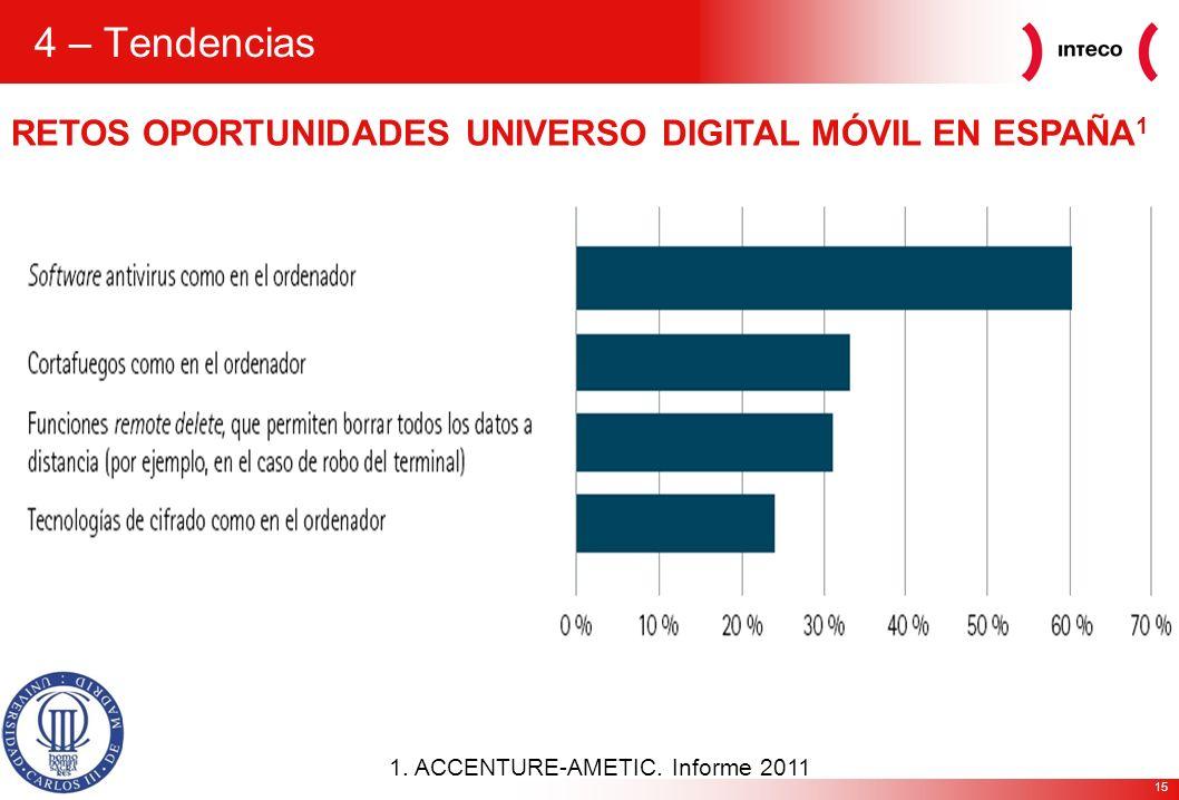 15 1. ACCENTURE-AMETIC. Informe 2011 RETOS OPORTUNIDADES UNIVERSO DIGITAL MÓVIL EN ESPAÑA 1 4 – Tendencias