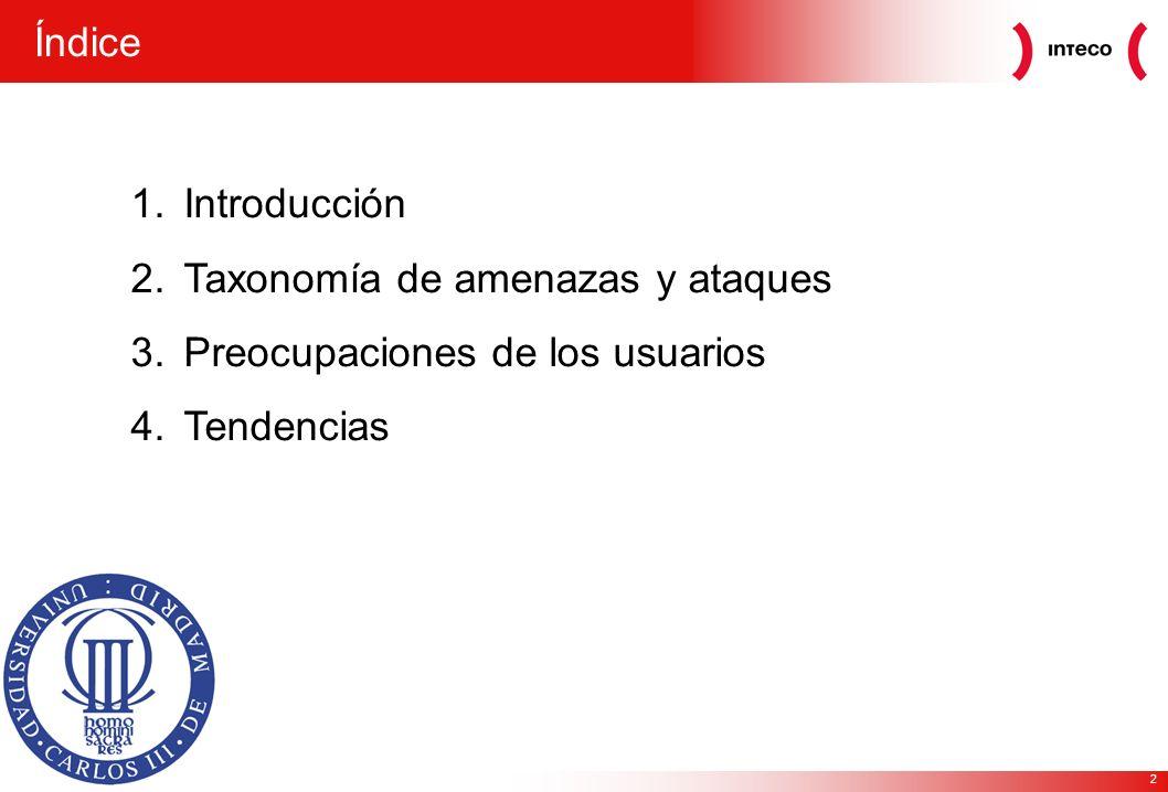 2 1.Introducción 2.Taxonomía de amenazas y ataques 3.Preocupaciones de los usuarios 4.Tendencias Índice