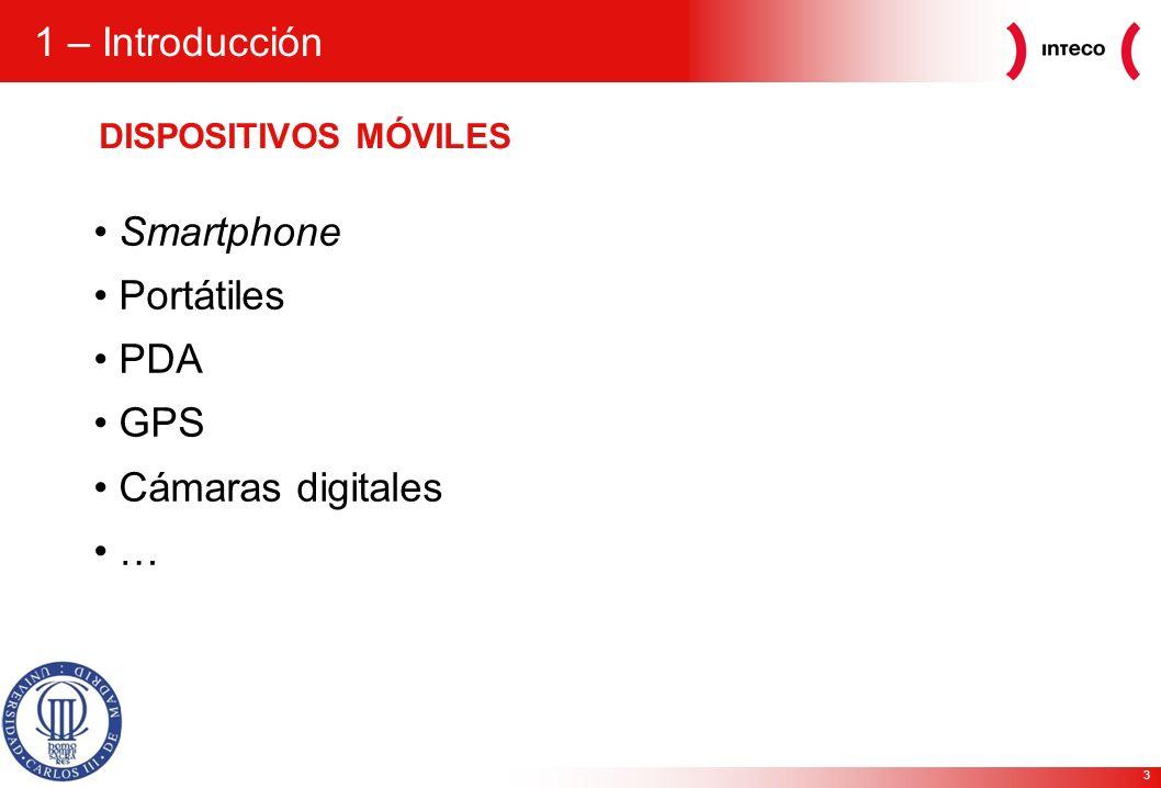 3 1 – Introducción DISPOSITIVOS MÓVILES Smartphone Portátiles PDA GPS Cámaras digitales …