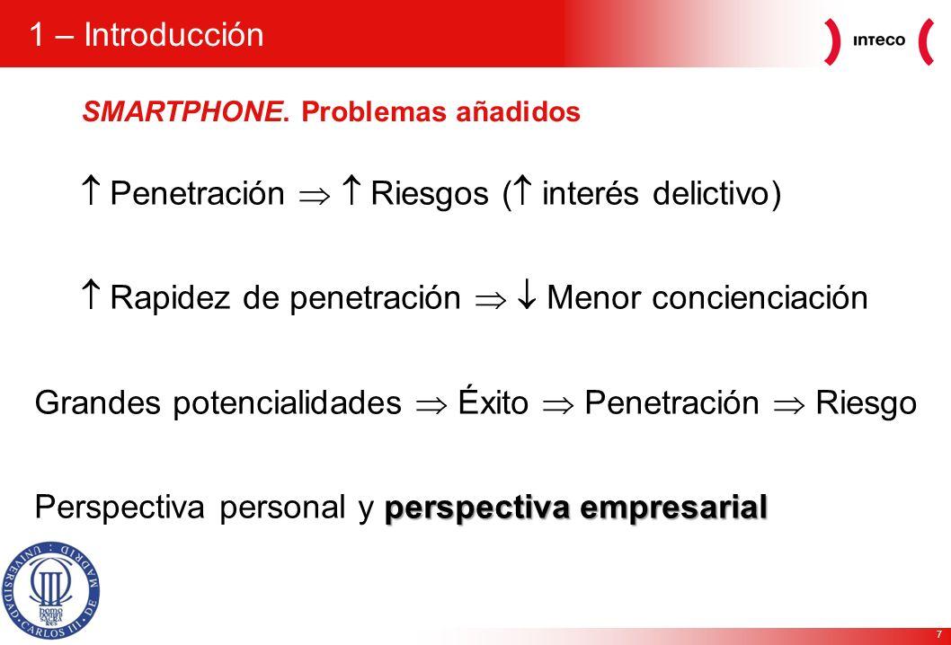 7 1 – Introducción Penetración Riesgos ( interés delictivo) Rapidez de penetración Menor concienciación Grandes potencialidades Éxito Penetración Ries