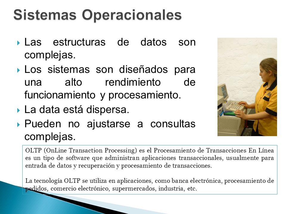 Las estructuras de datos son complejas. Los sistemas son diseñados para una alto rendimiento de funcionamiento y procesamiento. La data está dispersa.