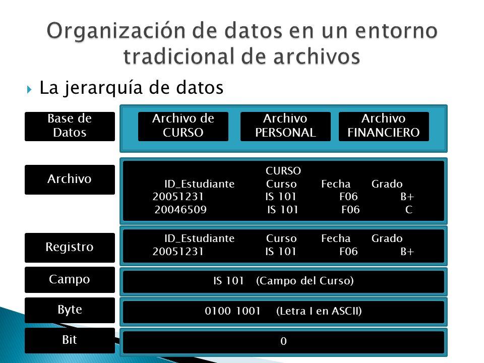 La jerarquía de datos Archivo de CURSO Archivo PERSONAL Base de Datos CURSO ID_Estudiante Curso Fecha Grado 20051231 IS 101 F06 B+ 20046509 IS 101 F06