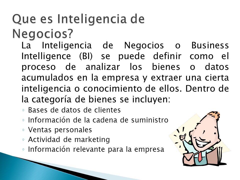 La Inteligencia de Negocios o Business Intelligence (BI) se puede definir como el proceso de analizar los bienes o datos acumulados en la empresa y ex