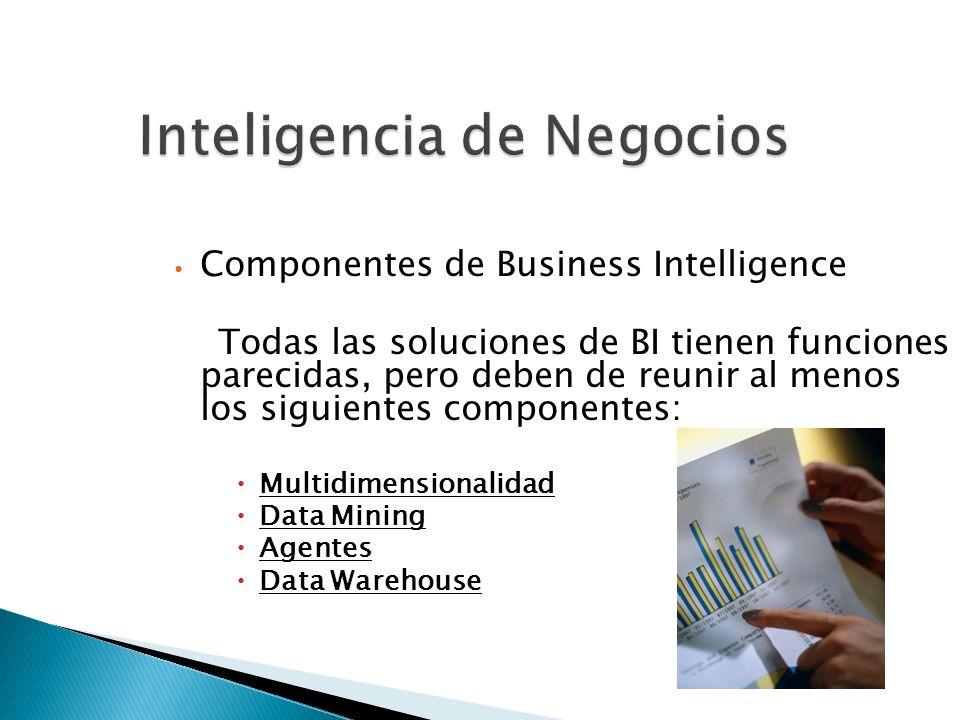 Inteligencia de Negocios Componentes de Business Intelligence Todas las soluciones de BI tienen funciones parecidas, pero deben de reunir al menos los