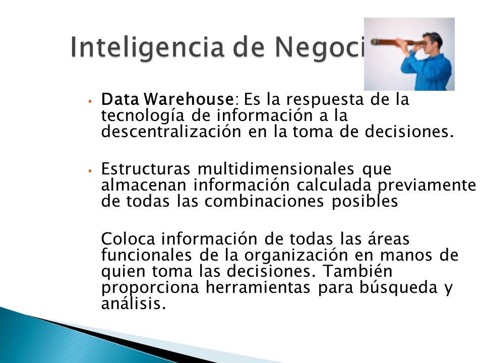 Inteligencia de Negocios Data Warehouse: Es la respuesta de la tecnología de información a la descentralización en la toma de decisiones. Estructuras