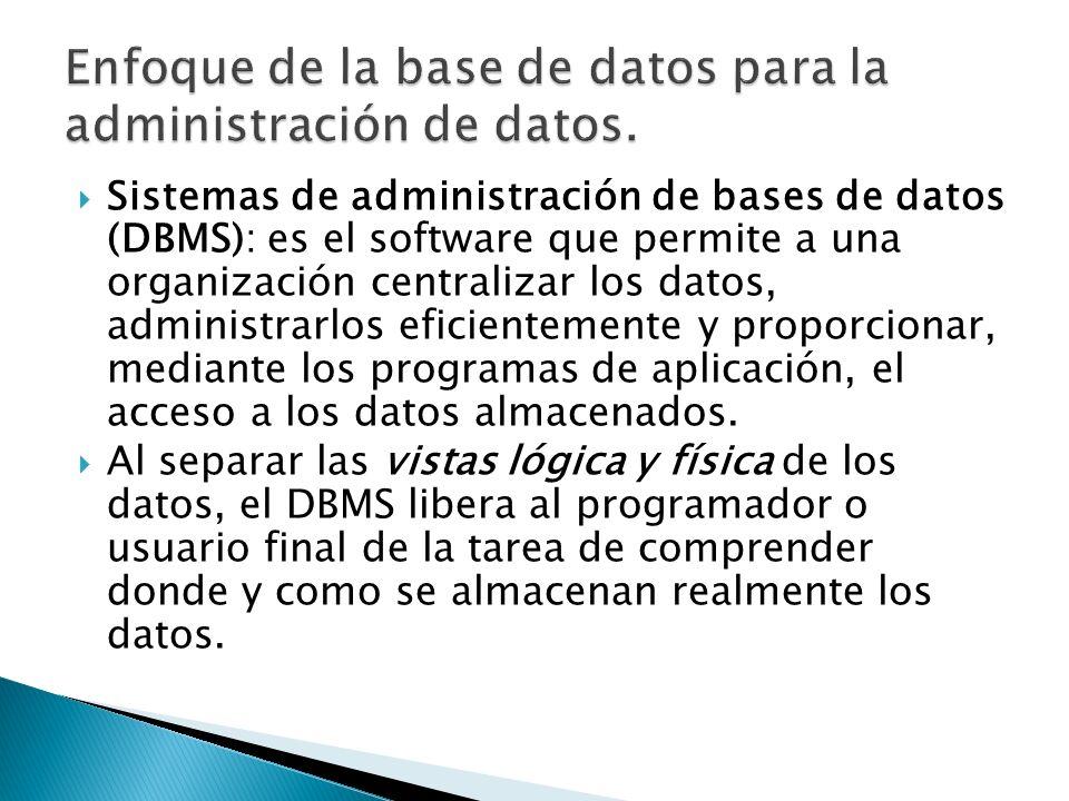 Sistemas de administración de bases de datos (DBMS): es el software que permite a una organización centralizar los datos, administrarlos eficientement