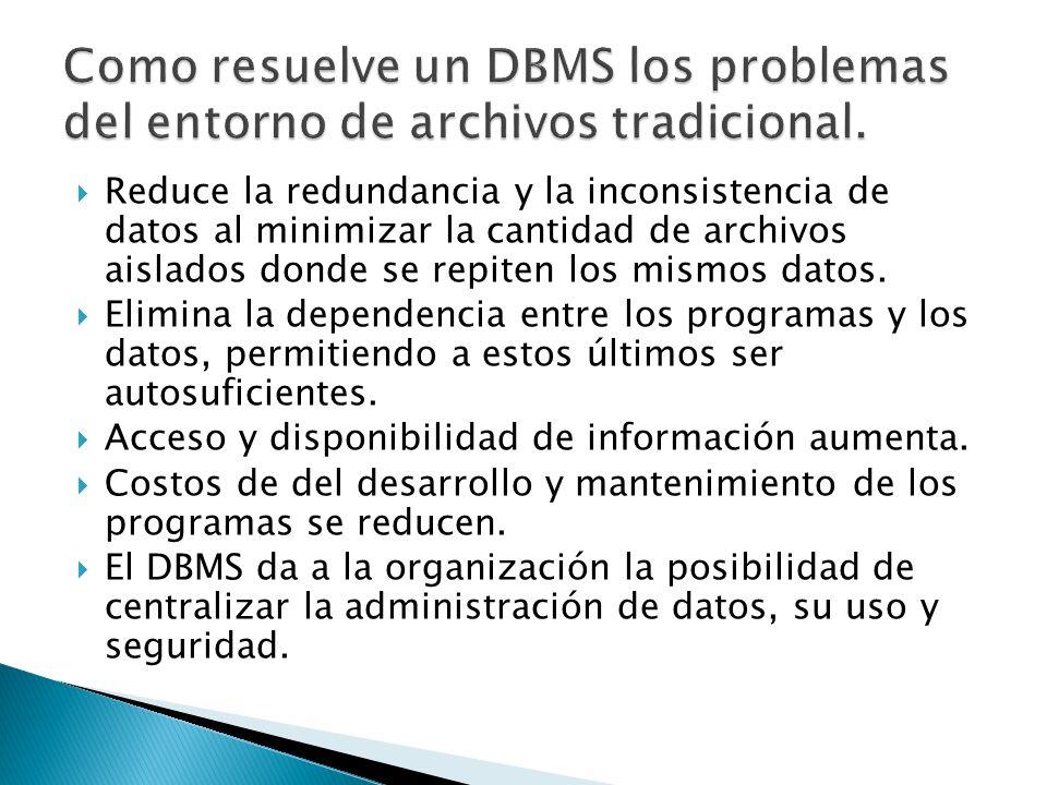 Reduce la redundancia y la inconsistencia de datos al minimizar la cantidad de archivos aislados donde se repiten los mismos datos. Elimina la depende