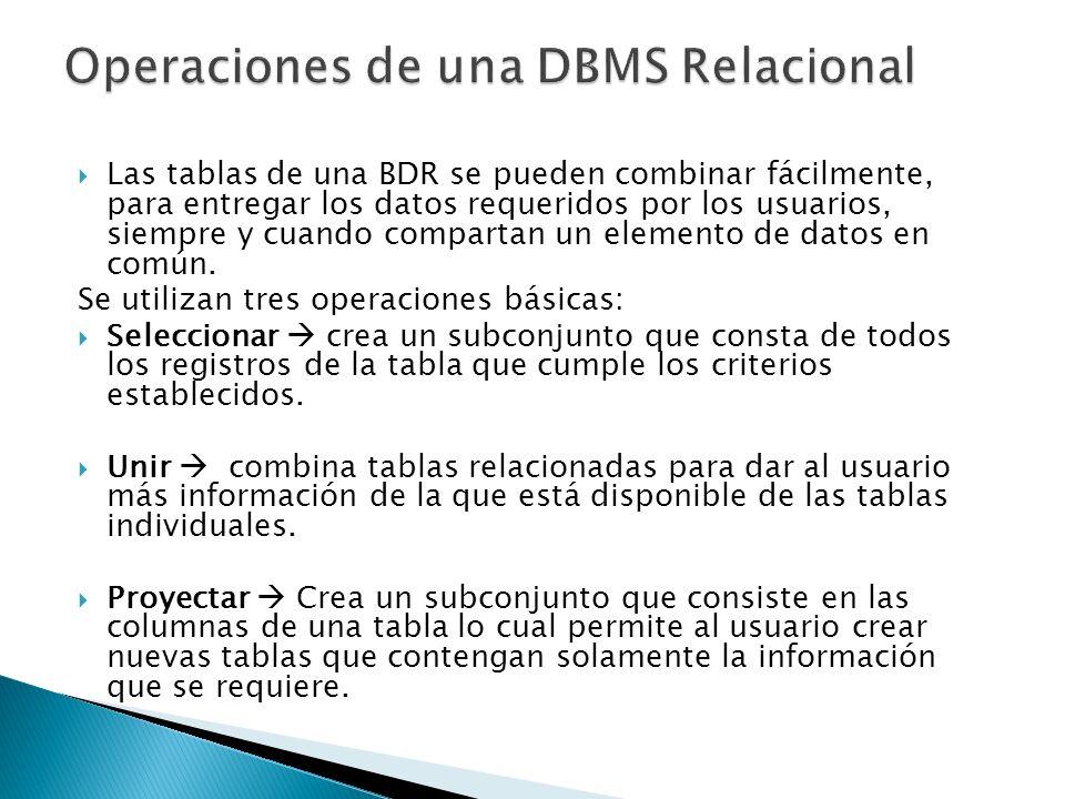 Las tablas de una BDR se pueden combinar fácilmente, para entregar los datos requeridos por los usuarios, siempre y cuando compartan un elemento de da