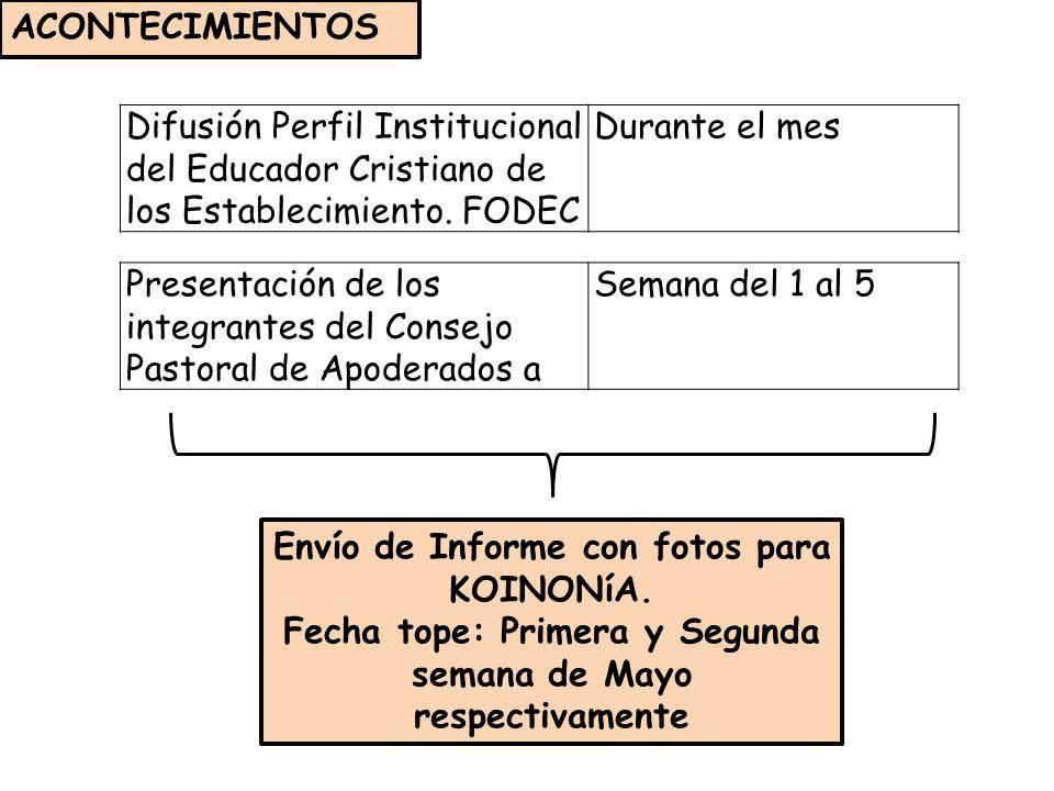 Difusión Perfil Institucional del Educador Cristiano de los Establecimiento.
