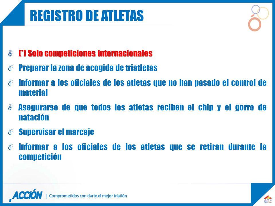 (*) Solo competiciones internacionales Preparar la zona de acogida de triatletas Informar a los oficiales de los atletas que no han pasado el control