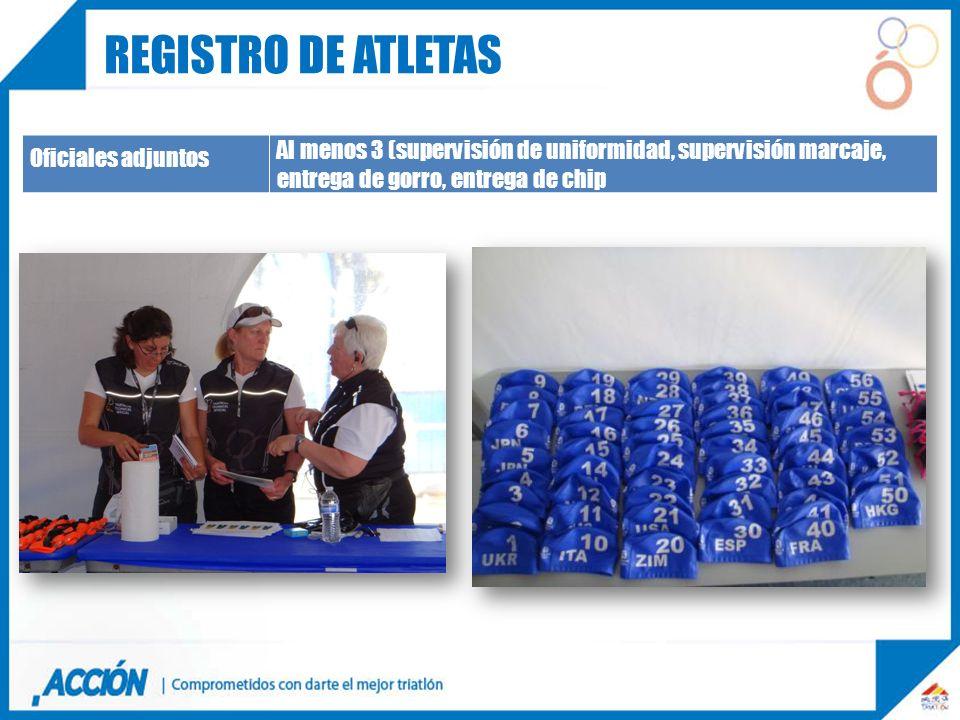 Oficiales adjuntos Al menos 3 (supervisión de uniformidad, supervisión marcaje, entrega de gorro, entrega de chip REGISTRO DE ATLETAS
