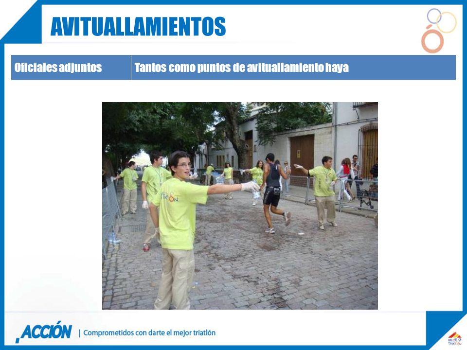 Oficiales adjuntosTantos como puntos de avituallamiento haya AVITUALLAMIENTOS
