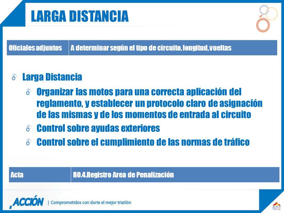 Oficiales adjuntosA determinar según el tipo de circuito, longitud, vueltas Larga Distancia Organizar las motos para una correcta aplicación del regla