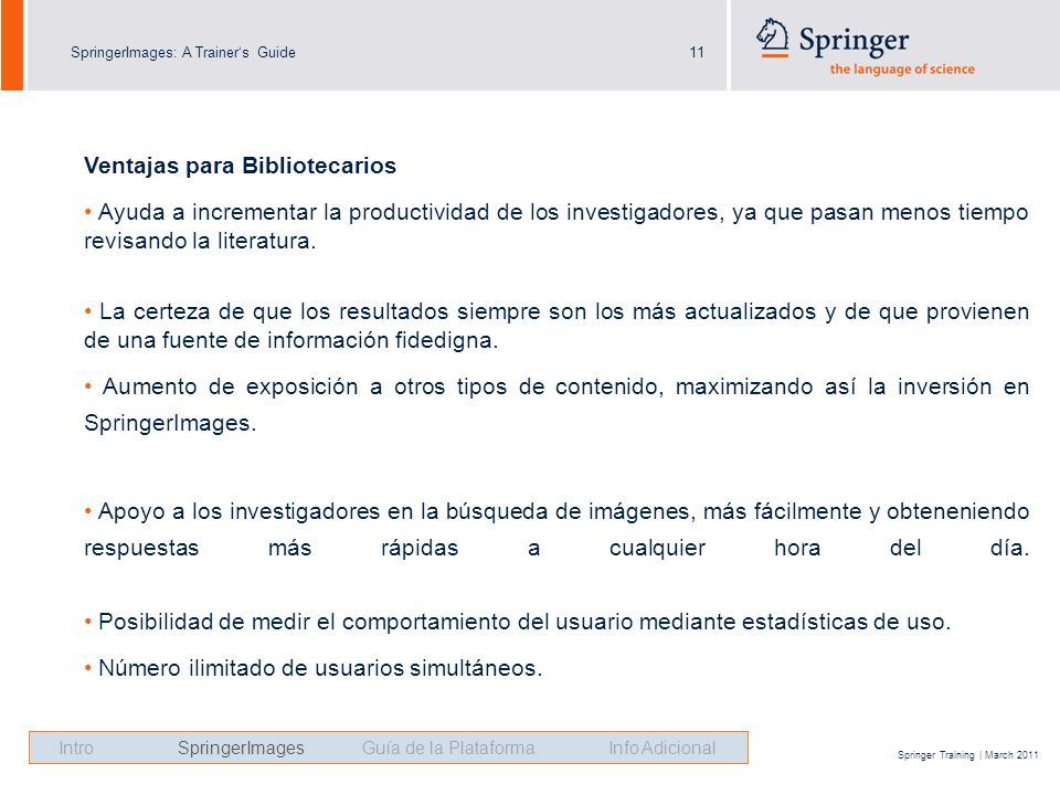 SpringerImages: A Trainers Guide11 Springer Training | March 2011 Ventajas para Bibliotecarios Ayuda a incrementar la productividad de los investigado