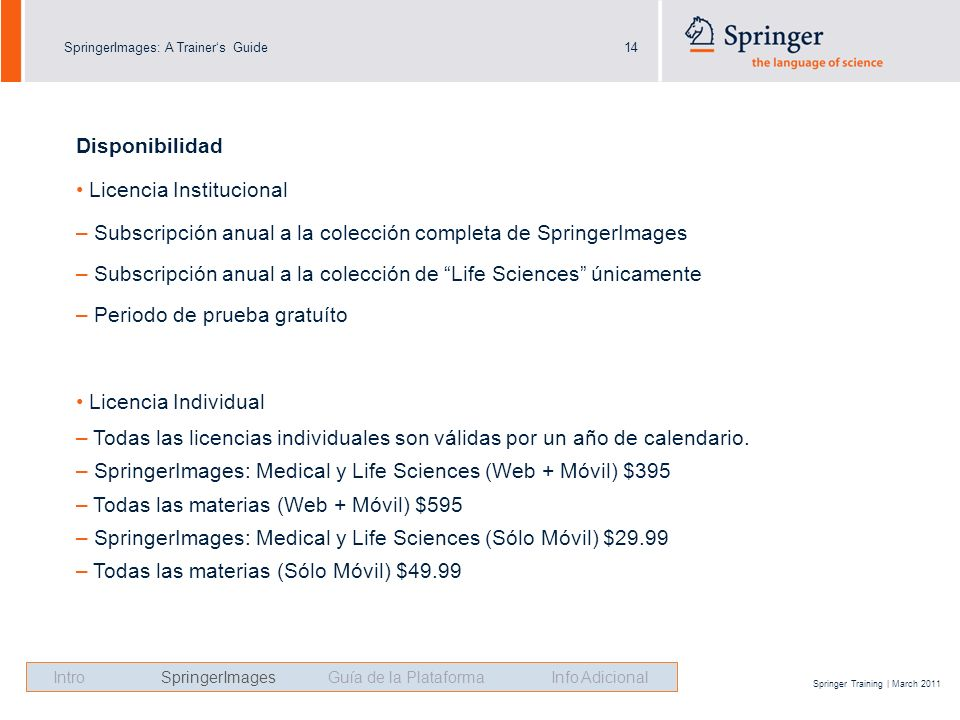SpringerImages: A Trainers Guide14 Springer Training | March 2011 Disponibilidad Licencia Institucional – Subscripción anual a la colección completa d