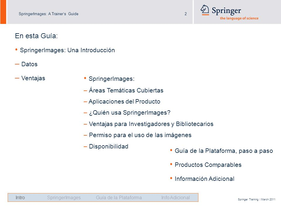 SpringerImages: A Trainers Guide2 Springer Training | March 2011 En esta Guía: SpringerImages: Una Introducción – Datos – Ventajas SpringerImages: – Á