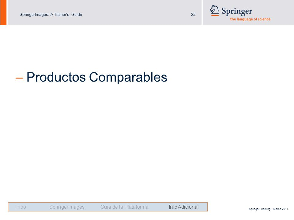 SpringerImages: A Trainers Guide23 Springer Training | March 2011 – Productos Comparables Intro SpringerImages Guía de la Plataforma Info Adicional