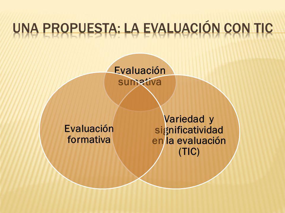 Evaluación sumativa Variedad y significatividad en la evaluación (TIC) Evaluación formativa