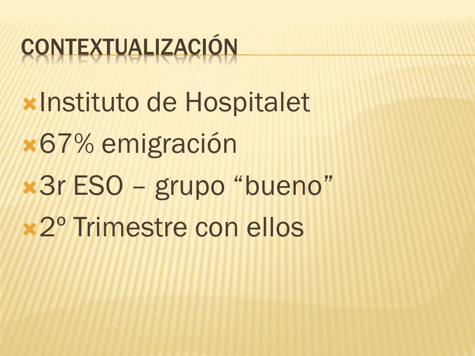 Instituto de Hospitalet 67% emigración 3r ESO – grupo bueno 2º Trimestre con ellos