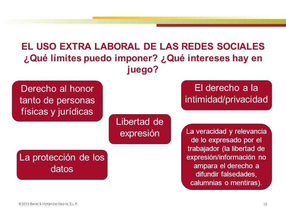 © 2013 Baker & McKenzie Madrid, S.L.P. 13 EL USO EXTRA LABORAL DE LAS REDES SOCIALES ¿Qué límites puedo imponer? ¿Qué intereses hay en juego? El derec