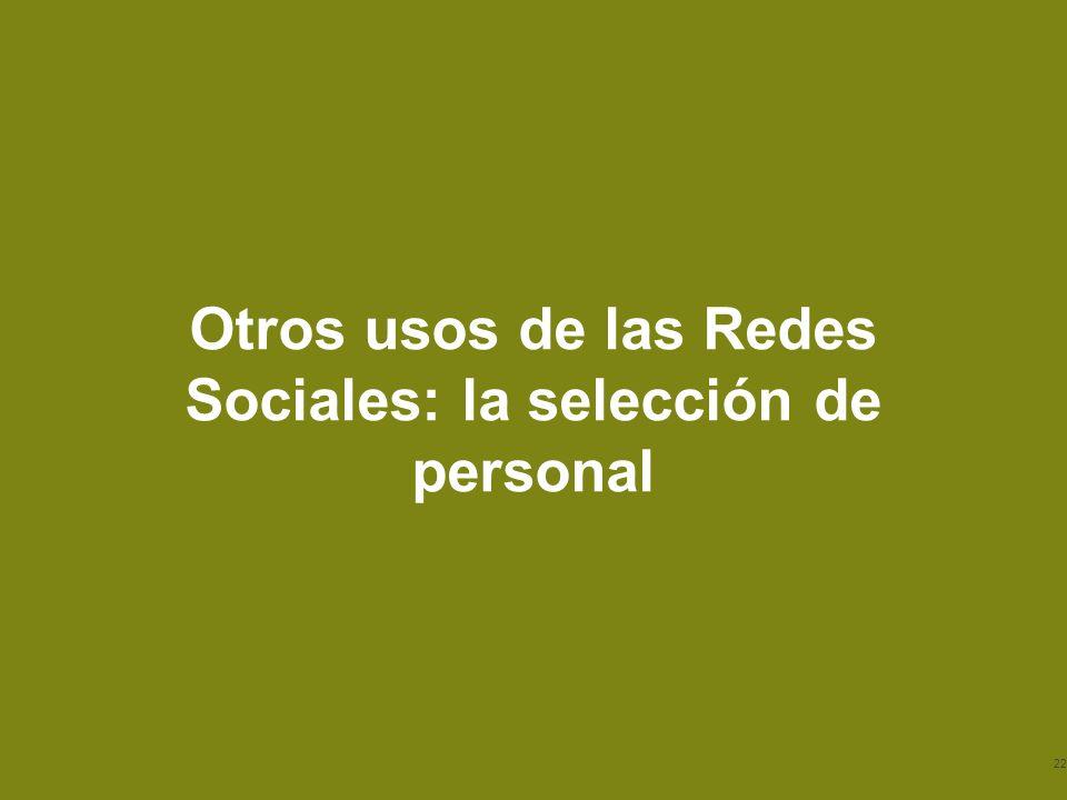 © 2013 Baker & McKenzie Madrid, S.L.P. Otros usos de las Redes Sociales: la selección de personal 22