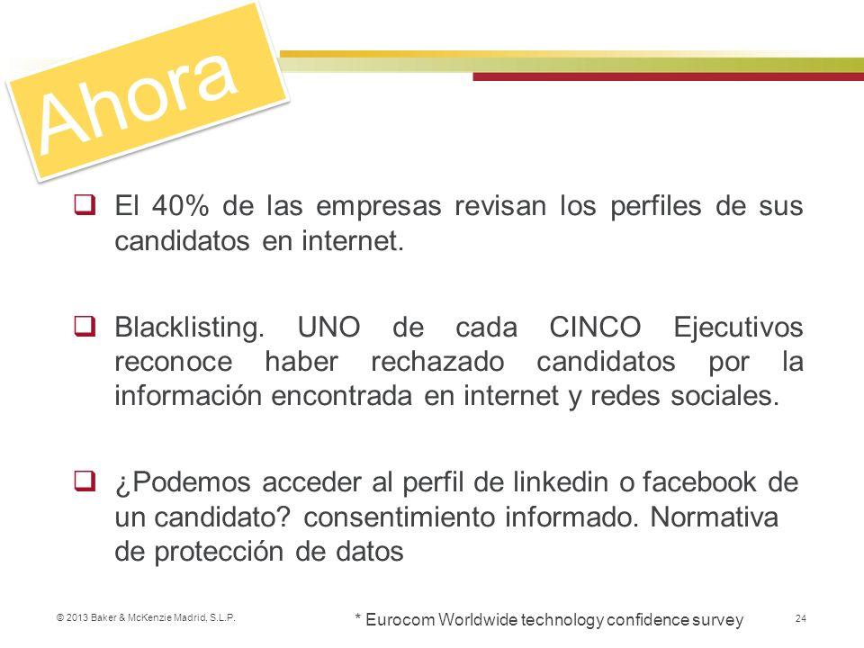 © 2013 Baker & McKenzie Madrid, S.L.P. 24 El 40% de las empresas revisan los perfiles de sus candidatos en internet. Blacklisting. UNO de cada CINCO E