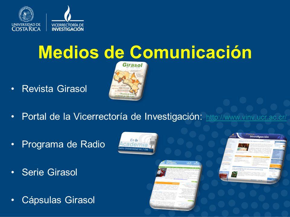 Medios de Comunicación Revista Girasol Portal de la Vicerrectoría de Investigación: http://www.vinv.ucr.ac.cr/ http://www.vinv.ucr.ac.cr/ Programa de Radio Serie Girasol Cápsulas Girasol