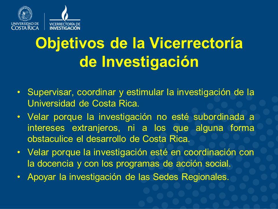 Objetivos de la Vicerrectoría de Investigación Supervisar, coordinar y estimular la investigación de la Universidad de Costa Rica.