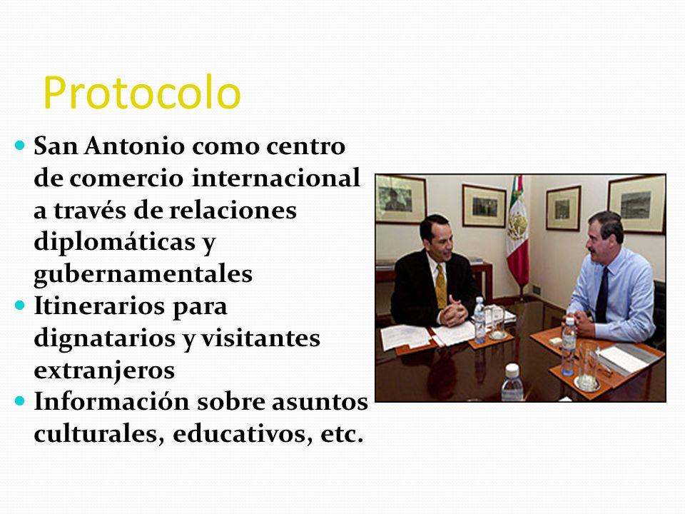 Protocolo San Antonio como centro de comercio internacional a través de relaciones diplomáticas y gubernamentales Itinerarios para dignatarios y visit