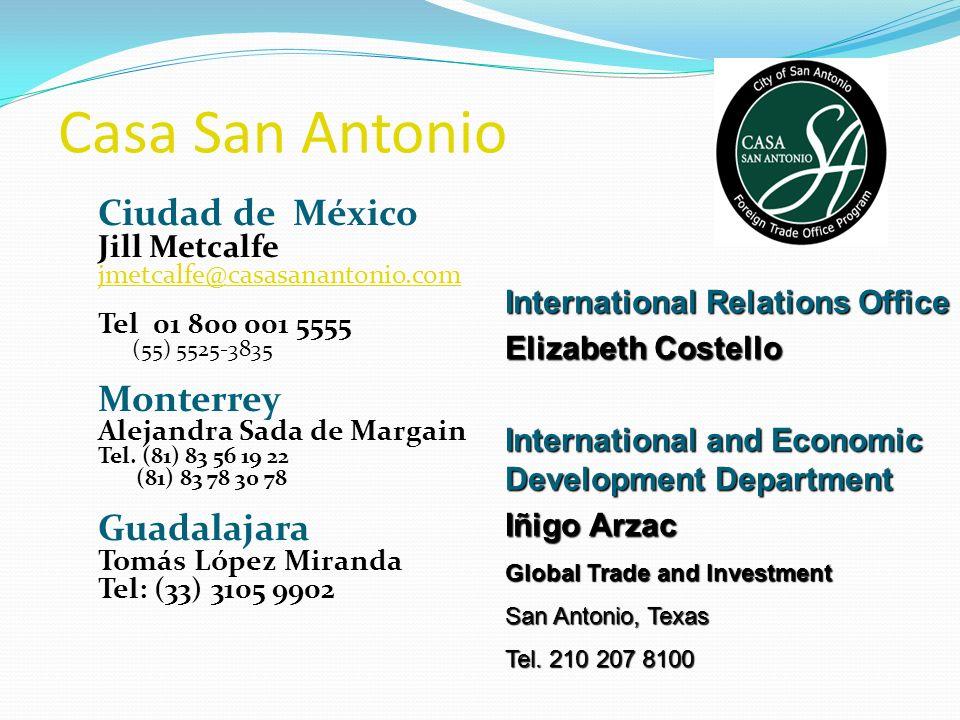 Casa San Antonio Ciudad de México Jill Metcalfe jmetcalfe@casasanantonio.com Tel 01 800 001 5555 (55) 5525-3835 Monterrey Alejandra Sada de Margain Te