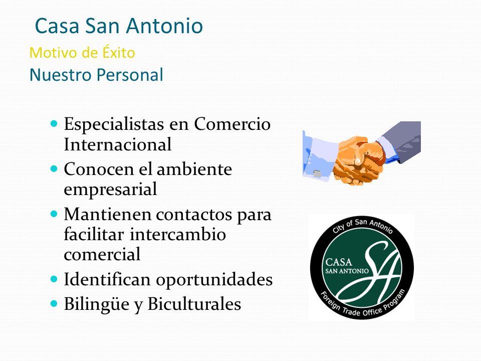 Casa San Antonio Motivo de Éxito Nuestro Personal Especialistas en Comercio Internacional Conocen el ambiente empresarial Mantienen contactos para fac