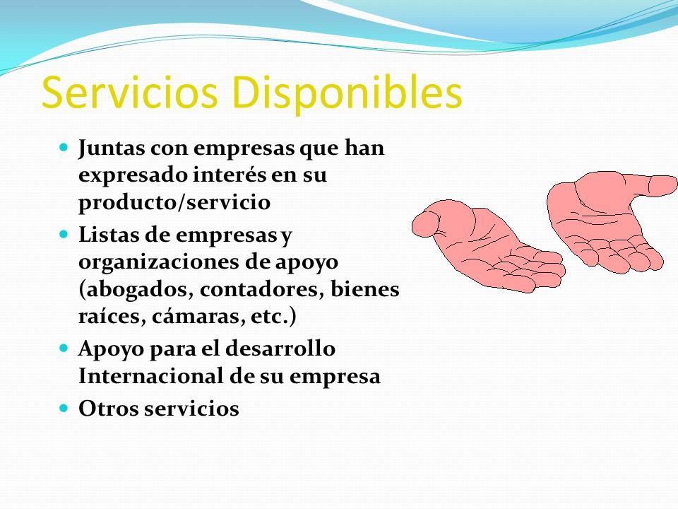 Servicios Disponibles Juntas con empresas que han expresado interés en su producto/servicio Listas de empresas y organizaciones de apoyo (abogados, co