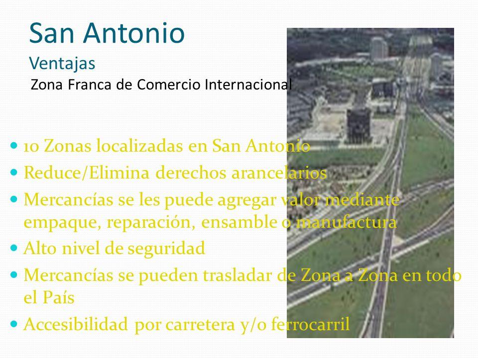 San Antonio Ventajas Zona Franca de Comercio Internacional 10 Zonas localizadas en San Antonio Reduce/Elimina derechos arancelarios Mercancías se les