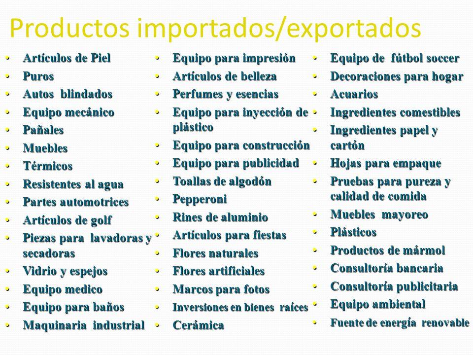 Productos importados/exportados Artículos de PielArtículos de Piel PurosPuros Autos blindadosAutos blindados Equipo mecánicoEquipo mecánico PañalesPañ