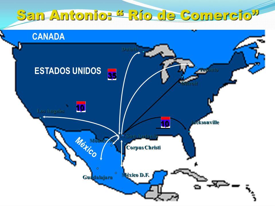 CANADA ESTADOS UNIDOS México Los Angeles Toronto Duluth Detroit Jacksonville San Antonio Monterrey Guadalajara México D.F. 10 10 35 Corpus Christi San