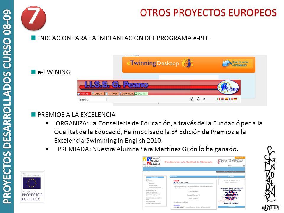 OTROS PROYECTOS EUROPEOS INICIACIÓN PARA LA IMPLANTACIÓN DEL PROGRAMA e-PEL e-TWINING PREMIOS A LA EXCELENCIA ORGANIZA: La Conselleria de Educación, a