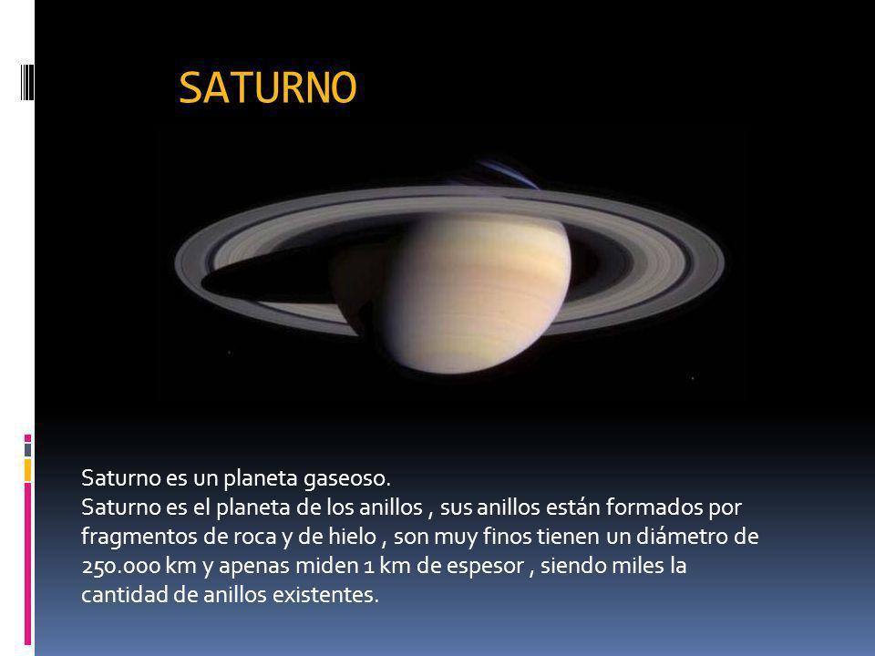 SATURNO Saturno es un planeta gaseoso.