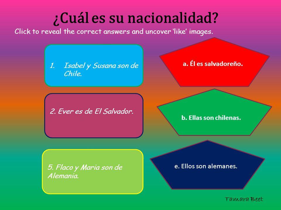 ¿Cuál es su nacionalidad? 1.Isabel y Susana son de Chile. 2. Ever es de El Salvador. 5. Flaco y Maria son de Alemania. a. Él es salvadoreño. b. Ellas
