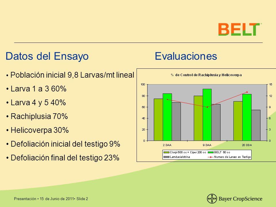 Presentación 15 de Junio de 2011 Slide 2 Evaluaciones Datos del Ensayo Población inicial 9,8 Larvas/mt lineal Larva 1 a 3 60% Larva 4 y 5 40% Rachiplu
