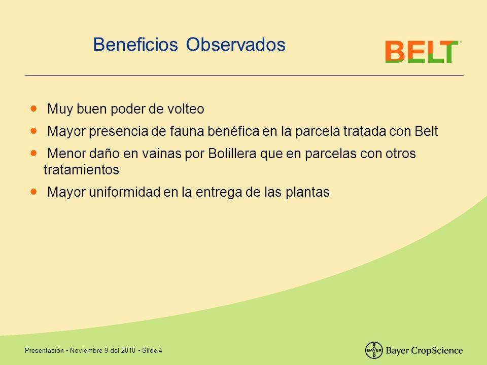 Presentación Noviembre 9 del 2010 Slide 4 Beneficios Observados Muy buen poder de volteo Mayor presencia de fauna benéfica en la parcela tratada con B