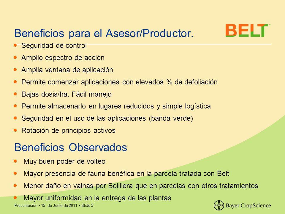 Presentación 15 de Junio de 2011 Slide 5 Beneficios para el Asesor/Productor. Seguridad de control Amplio espectro de acción Amplia ventana de aplicac