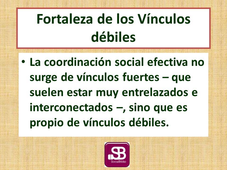 La coordinación social efectiva no surge de vínculos fuertes – que suelen estar muy entrelazados e interconectados –, sino que es propio de vínculos débiles.